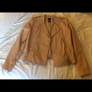 Armani women's nude leather jacket size small
